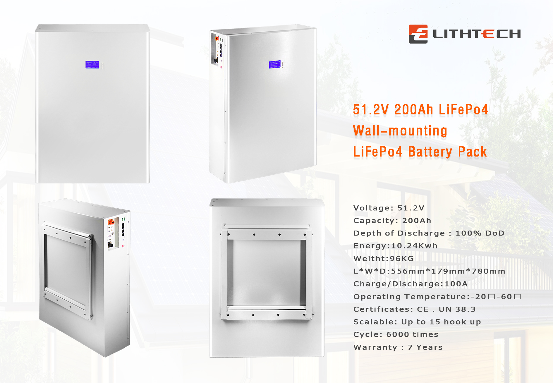 Lithtech Powerwall Home Battery LiFePO4 Battery 51.2V 200AH